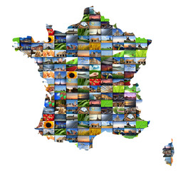 Mosaique de photos dans une carte de France