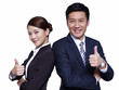 asian business people standing back-to-back, thumbs up