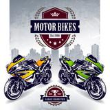 Two sport motorbikes with stylish club emblem - 51757678