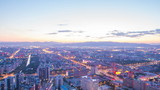 Aerial view of Beijing city sunset time lapse