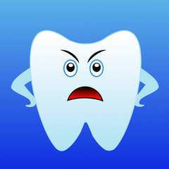 an angry tooth on a blue background