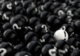 many black balls with question marks and one white