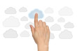 Cloud computing concept with woman hand on white background.