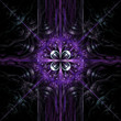 Fractal flame background. Purple and blue on black.