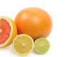 Image of a fresh whole lime, lemon and orange isolated on white