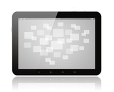 Tablet PC with virtual interface on white background.