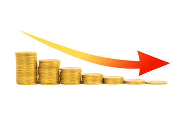 Financial concept - graph of the columns of coins
