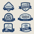 Set of blue business vintage labels