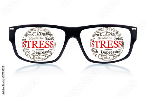 Sunglasses with the word stress in place of the eyes