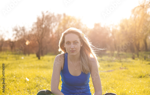 Beautiful blonde girl in the sun