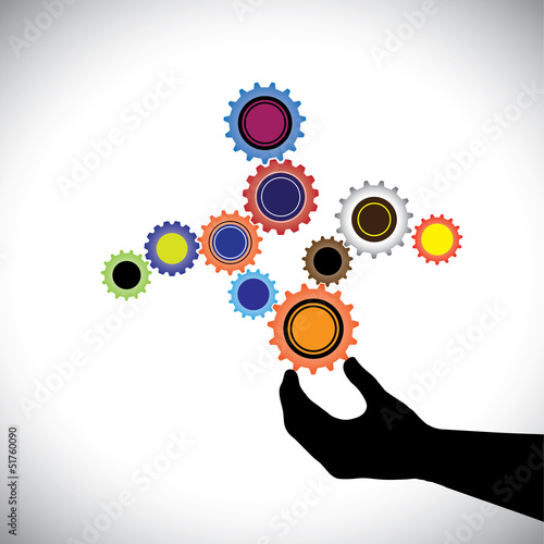 Abstract colorful cogwheels graphic  controlled by hand(person).