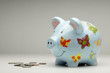 Colourful piggy bank with money isolated