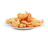 plate of fried fish on white background
