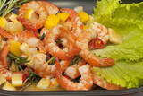 Fried King prawns with lemon