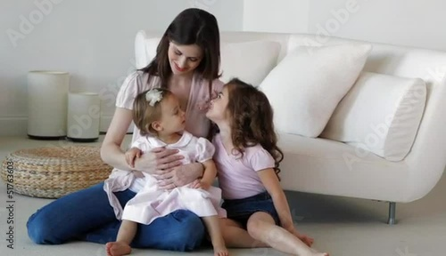 Portrait of Caucasian mother and daughters