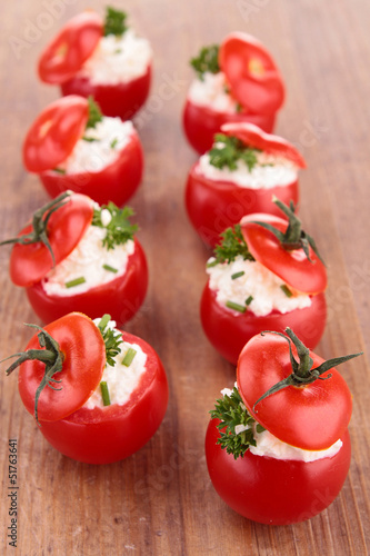 stuffed cherry tomato and cheese
