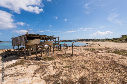 Es Pujols port in Formentera island wooden boat railways