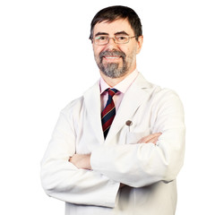 Portrait of happy middle-aged dentist on a white background