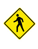 Pedestrian traffic warning sign on a white background