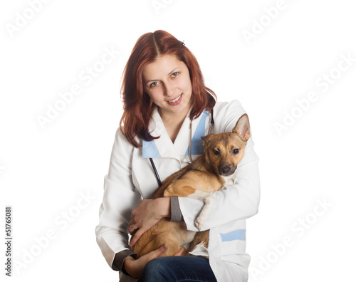 beautiful young woman veterinarian