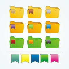 folder icons with ribbon