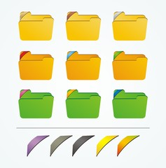 folder icon with colorful ribbons