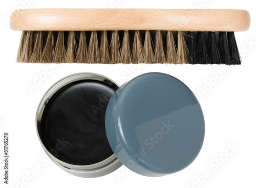 Shoe brush and open box with cream (wax)