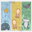 Vertical banners with sea animals