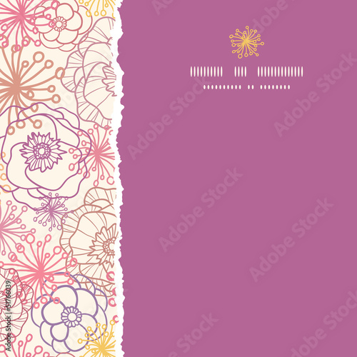 Vector subtle field flowers elegant square torn seamless pattern