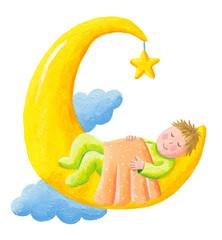 Baby sleeps on the moon