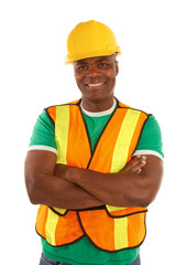Happy african american construction with arms crossed