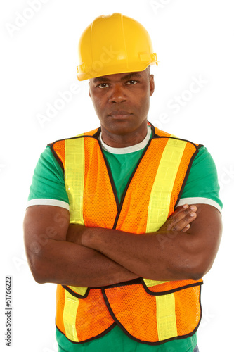 serious african american construction with arms crossed