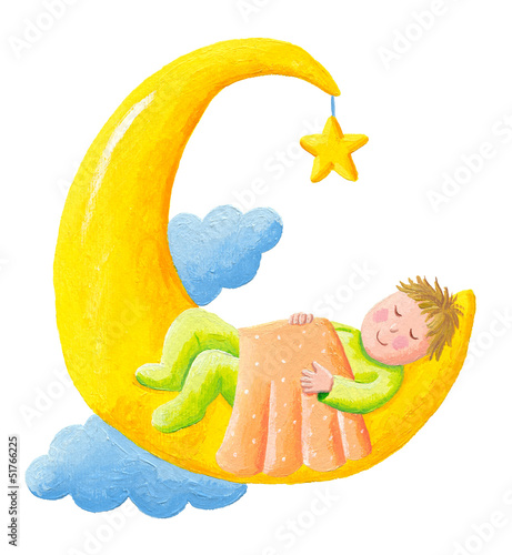 Baby sleeps on the moon