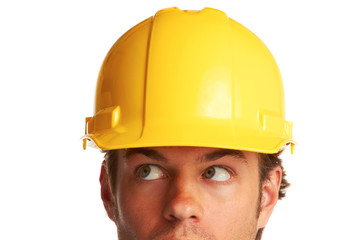 Construction worker looking worried