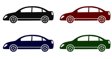set with colorful modern cars