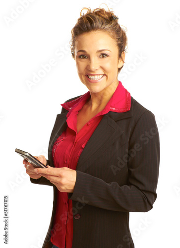 Beautiful business woman text messaging
