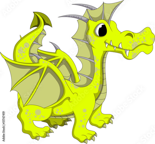 Cute yellow dragon cartoon