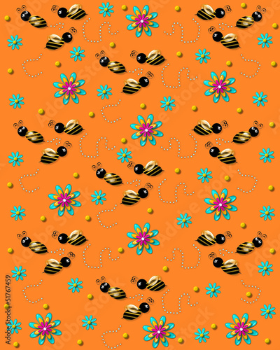 Bees on the Buzz on Soft Orange