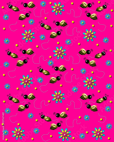 Bees on the Buzz on Bright Pink