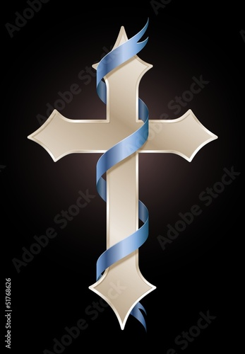 Golden cross with blue ribbon