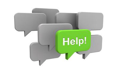 Sprechblasen mit Help - Konzept Service