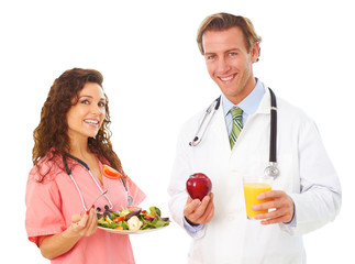 Nurse and Doctor Holding Health Food