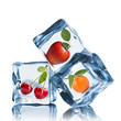 Fruits In Ice Cubes Isolated O...