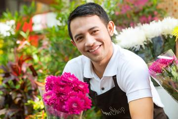 Florist holding a Bouquet