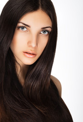 teen girl  portrait with beautiful  brown long hair