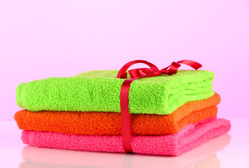 Towels tied with ribbon