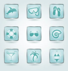 Vector buttons with vacation icons.