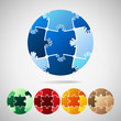 Earth Planet from puzzle pieces, vector illustration