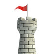 tower with flag 3d illustration