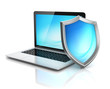 laptop with shield - internet security 3d concept